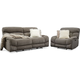 Wave Dual-Power Reclining Sofa and Recliner Set - Ash