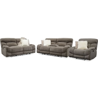 Wave Manual Reclining Sofa, Loveseat and Recliner - Ash