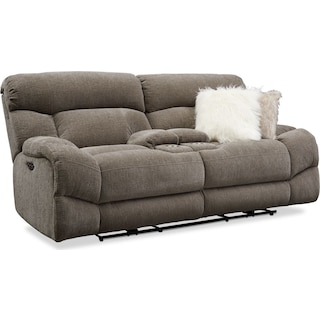 Wave Dual-Power Reclining Loveseat - Ash