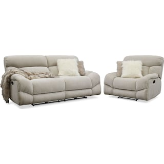 Wave Manual Reclining Sofa and Recliner Set - Ivory
