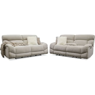 Wave Dual-Power Reclining Sofa and Loveseat Set - Ivory