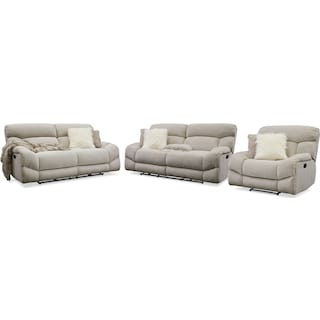 Wave Manual Reclining Sofa, Loveseat and Recliner - Ivory