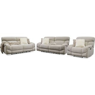 Wave Dual-Power Reclining Sofa, Loveseat and Recliner - Ivory