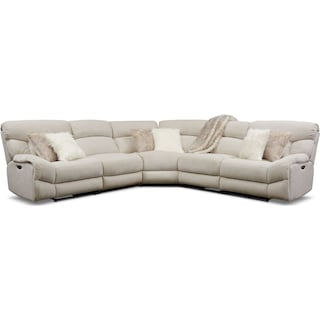 Wave 5-Piece Dual-Power Reclining Sectional with 3 Reclining Seats - Ivory