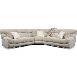 Wave 5-Piece Dual-Power Reclining Sectional with 2 Reclining Seats- Ivory
