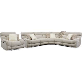 Wave 5-Piece Dual-Power Reclining Sectional with 2 Reclining Seats and Recliner - Ivory