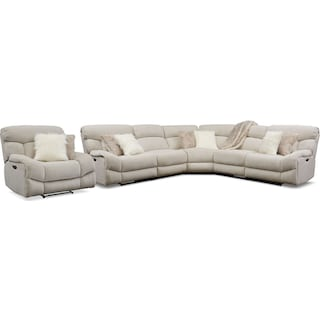 Wave 5-Piece Dual-Power Reclining Sectional with 3 Reclining Seats and Recliner - Ivory