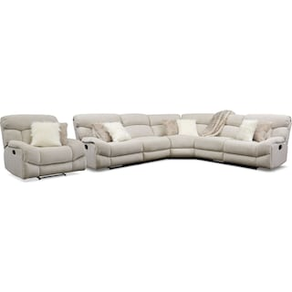 Wave 5-Piece Manual Reclining Sectional with 3 Reclining Seats and Recliner - Ivory