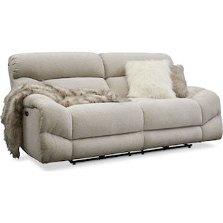 Wave Dual-Power Reclining Sofa - Ivory