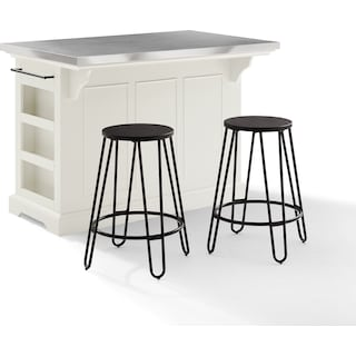 Wells Kitchen Island and Set of 2 Sami Stools