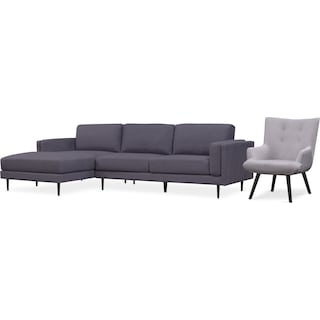 West End 2-Piece Left-Facing Sectional and Accent Chair - Gray and Light Gray