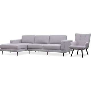 West End 2-Piece Left-Facing Sectional and Accent Chair - Light Gray
