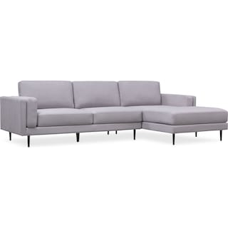 West End 2-Piece Sectional with Right-Facing Chaise - Light Gray