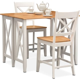 Nantucket Breakfast Bar and 2 Counter-Height Dining Chairs - Maple and White