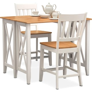 Nantucket Breakfast Bar and 2 Counter-Height Slat-Back Dining Chairs - Maple and White