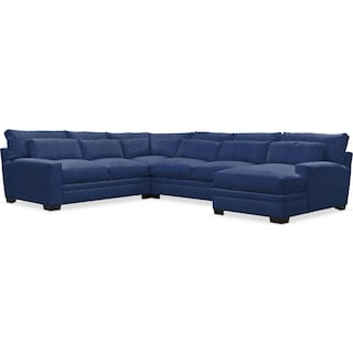 Winston Comfort 4-Piece Sectional with Right-Facing Chaise - Abington TW Indigo