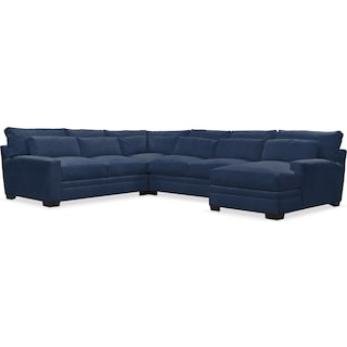Winston Comfort 4-Piece Sectional with Right-Facing Chaise - Toscana Navy