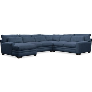 Winston Comfort Performance 4-Piece Sectional with Left-Arm Facing Chaise - Peyton Navy