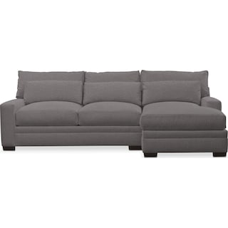 Winston Performance Cumulus 2-Piece Sectional with Right-Facing Chaise - Benavento Stone