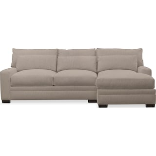 Winston Comfort 2-Piece Sectional with Right-Facing Chaise - Weddington Cement