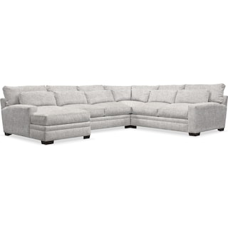 Winston Cumulus 4-Piece Sectional with Left-Facing Chaise - Everton Gray