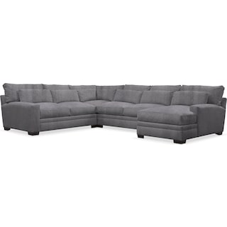 Winston Cumulus 4-Piece Sectional with Right-Facing Chaise - Living Large Charcoal