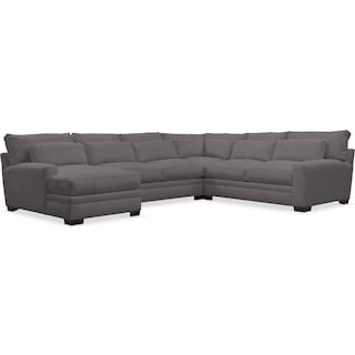 Winston Comfort Performance 4-Piece Sectional with Left-Arm Facing Chaise - Benavento Stone
