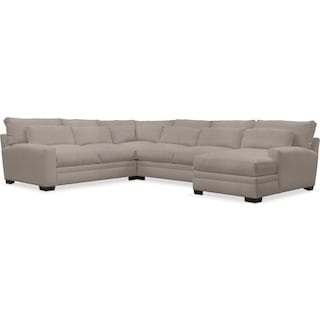 Winston Cumulus 4-Piece Sectional with Right-Facing Chaise - Weddington Cement