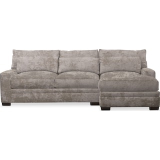 Winston Comfort 2-Piece Sectional with Right-Facing Chaise - Hearth Cement