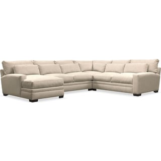 Winston Comfort Performance 4-Piece Sectional with Left-Arm Facing Chaise - Halifax Shell