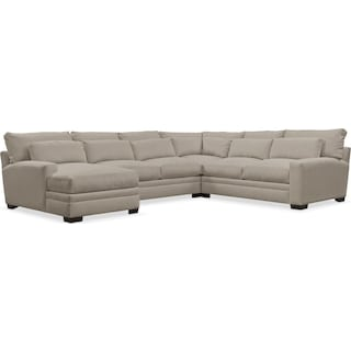 Winston Comfort Performance 4-Piece Sectional with Left-Arm Facing Chaise - Benavento Dove