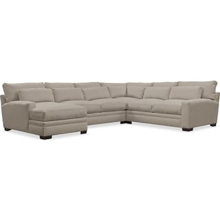 Winston Cumulus Performance 4-Piece Sectional with Left-Arm Facing Chaise - Benavento Dove