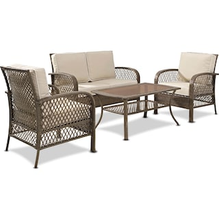 Zuma Outdoor Loveseat, 2 Chairs, and Coffee Table Set - Brown