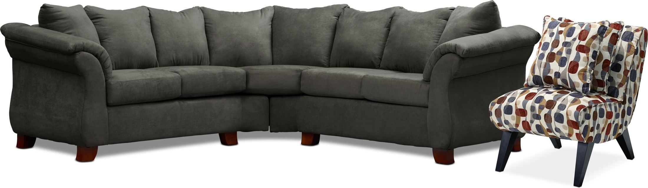 Living Room Furniture - Adrian 2-Piece Sectional and Accent Chair Set
