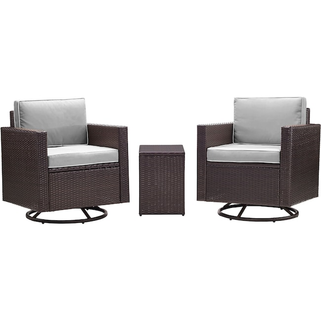 Outdoor Furniture - Aldo Set of 2 Outdoor Swivel Chairs and End Table