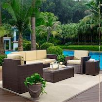 aldo outdoor light brown outdoor sofa set