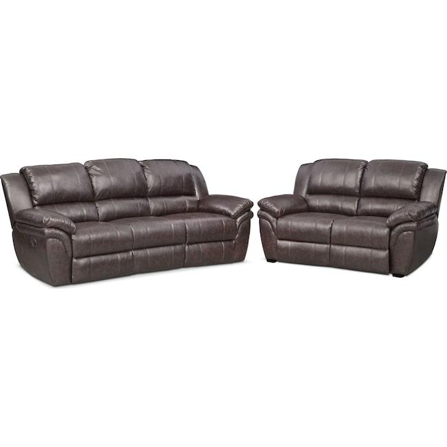 Living Room Furniture - Aldo Manual Reclining Sofa and Stationary Loveseat Set