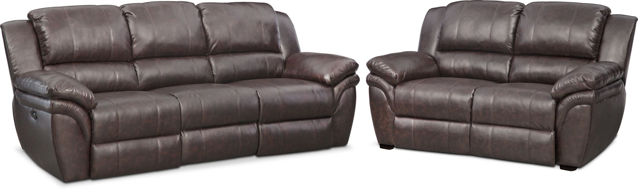 Living Room Furniture - Aldo Power Reclining Sofa and Stationary Loveseat Set