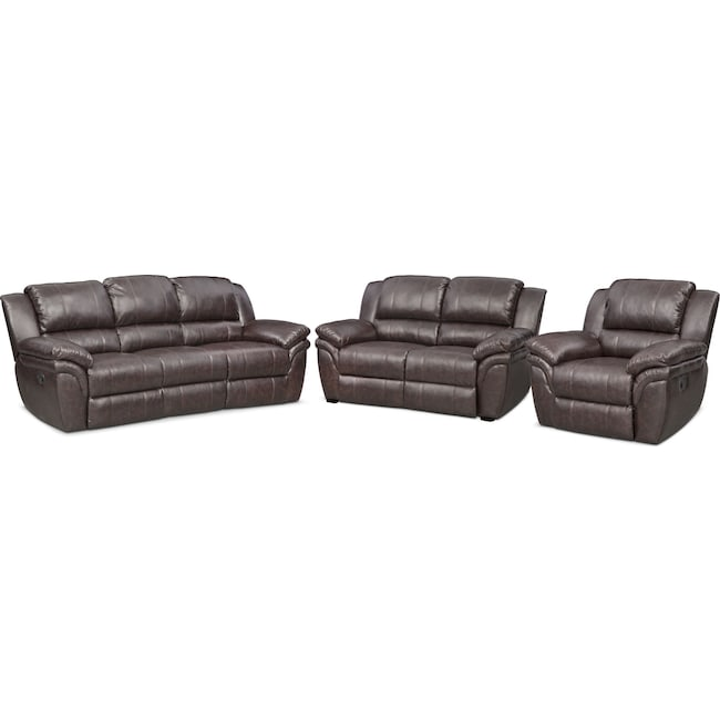 Living Room Furniture - Aldo Manual Reclining Sofa, Manual Recliner and Stationary Loveseat