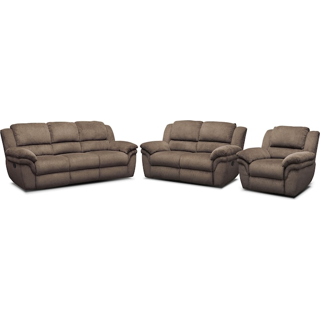 Living Room Furniture - Aldo Manual Reclining Sofa, Loveseat and Recliner
