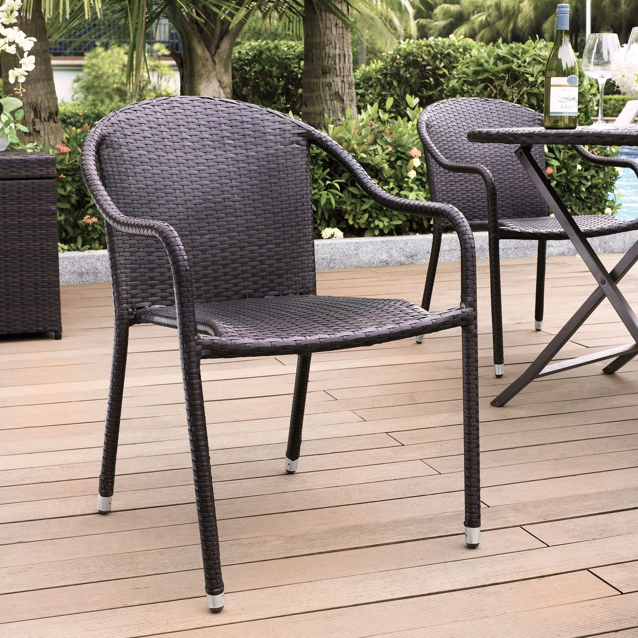 Outdoor Furniture - Aldo Set of 4 Stackable Outdoor Arm Chairs