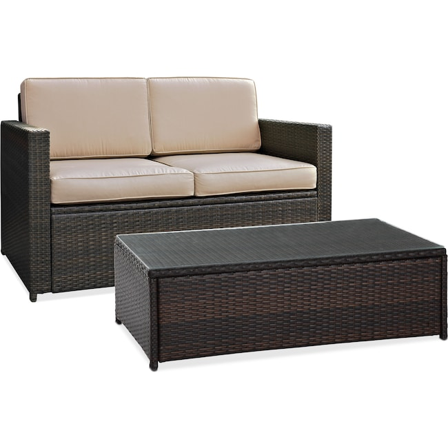 Outdoor Furniture - Aldo Outdoor Loveseat and Coffee Table Set