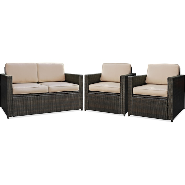 Outdoor Furniture - Aldo Outdoor Loveseat and 2 Chairs Set