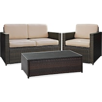 aldo dark brown outdoor loveseat set