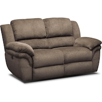 aldo dark brown power reclining loveseat