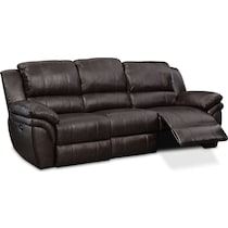 aldo dark brown power reclining sofa