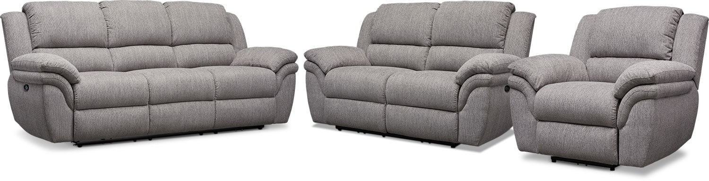Living Room Furniture - Aldo Power Reclining Sofa, Loveseat and Recliner