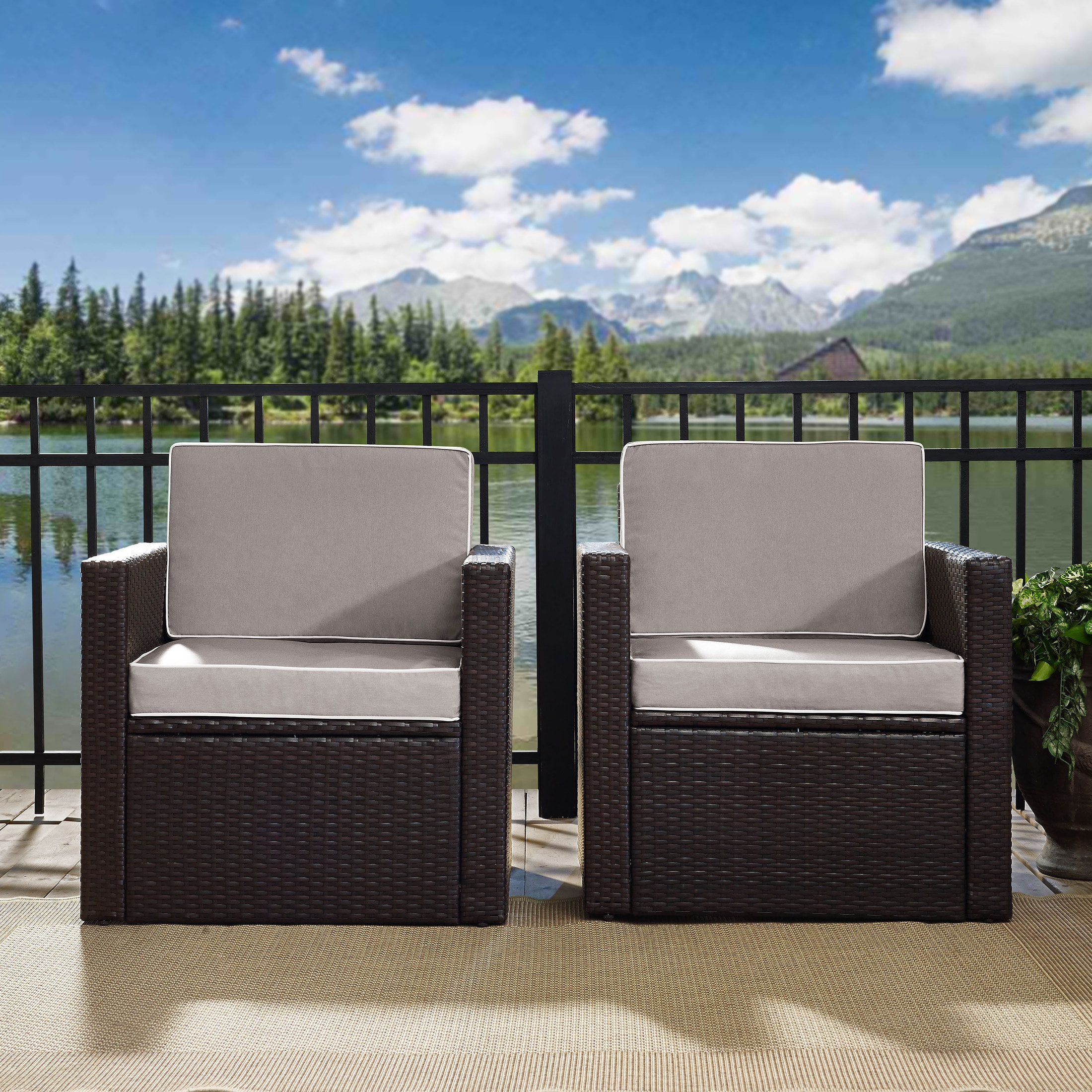 Outdoor Furniture - Aldo Set of 2 Outdoor Chairs and End Table Set