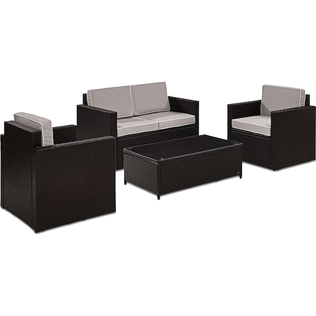 Outdoor Furniture - Aldo Outdoor Loveseat, 2 Chairs, and Coffee Table Set - Gray