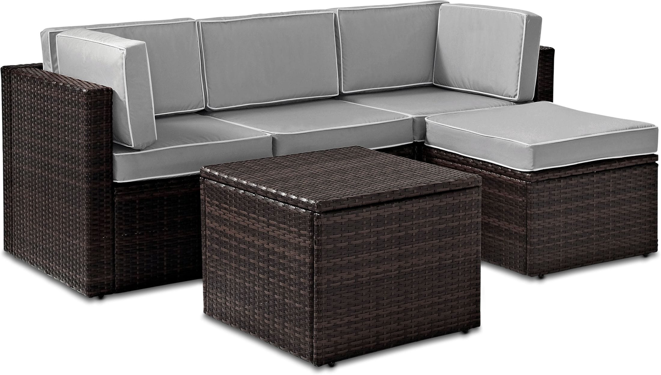 Outdoor Furniture - Aldo Outdoor Sofa, Ottoman, and Coffee Table Set